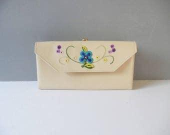 Vintage floral wallet Vintage Princess Gardner Wallet Mid Century Wallet Vintage Leather Wallet Vintage Wallet Vintage embroidered Wallet