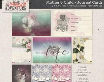 Mother, baby, child, digital scrapbooking journal cards, digital download pocket cards, printable collage sheet, vintage ephemera, boy, girl