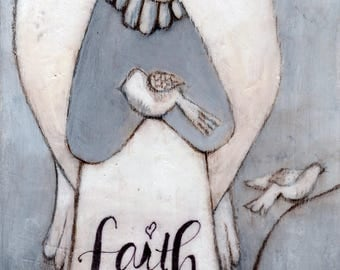 FAITH Angel - Print of Original Hand Painted- Angel Gift - Guardian Angel