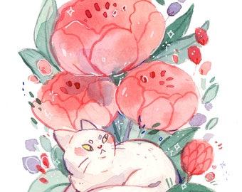 White Fluff Cat in Flower Forest -- Art Print