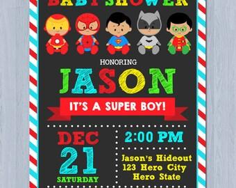 African American Superhero Baby Shower Invitation