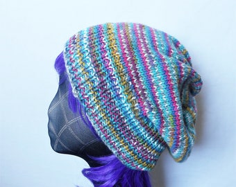 Multi slouch hat, over sized beanie, ladies mens striped tam, knitted beret, baggy beanie, Kwirky Knits UK