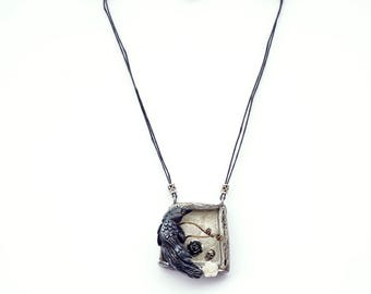 Gothic Raven Shadowbox Necklace, Raven Skull and Roses Polymer Clay and Resin Chunky Relief Pendant, Unique Unusual Goth Statement Jewelry