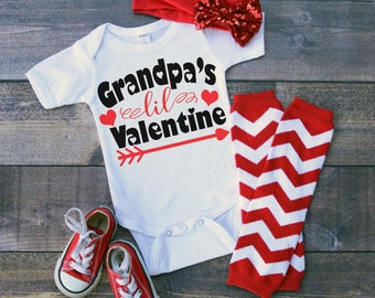 Grandpa's Lil Valentine Funny  Bodysuit or T-Shirt for Baby Toddler Kid Newborn Babies Shower Coming Home Gift Idea Creeper Present Cute Day
