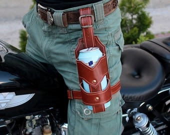 Leather bottle holder, Leather bottle carrier, Leather beer holder, Leather can holder, Leather can carrier, Leather travel mug, Mason jar