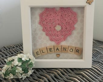 Personalised Box Frame, New Baby Gift, Nursery Decor, Girls Room Frame, Crochet Heart, Handmade Gift, Scrabble Tiles