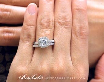 2.94 ct.tw Halo Bridal Set Rings-Asscher Cut Diamond Simulants-Engagement Set Rings-Wedding Band Ring-Solid Sterling Silver [2619-2]