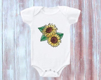 Sunflower Baby Bodysuit-Girls Baby One Piece-Sunflowers-Embroidered Baby Clothes-Cute Sunflower Baby Bodysuit