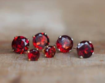 Garnet Studs in Gold or Silver, January Birthstone, Garnet Jewelry, 4 or 6mm Gemstone Studs, Everyday Garnet Earrings, Red Garnet Jewellery