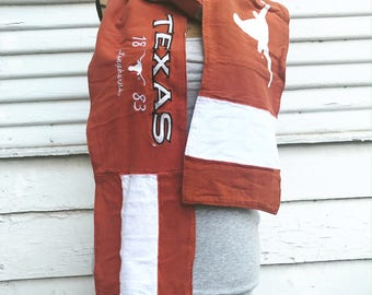 T-Shirt Scarf - LONGHORNS - UT - University of Texas Scarf - T-Shirt Patched Scarf - Fall Scarf - #4 - BM