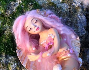 Lorelay, little mermaid, art doll, ooak art doll, collectible doll, gift for girl, home decor, mermaid doll, clay doll, fantasy doll