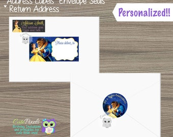 Beauty and Beast Address Labels, Beauty and Beast Envelope Seals, Beauty and Beast Return Address Labels, Princess Belle, Mailing Labels