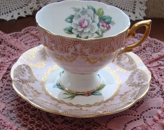 Royal Standard  Fine Bone China England - Vintage Tea Cup and Saucer - White Flower Center, Pink Band with Gold Filigree, Scroll and Trim
