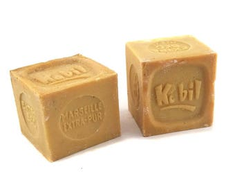 2 French Vintage Marseille Soaps - Antique Olive Oil Soaps - Retro Bathroom Decor