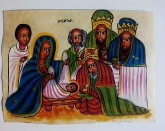Nativity. Coptic painting, Ethiopia, Africa