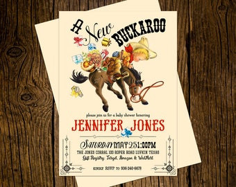 Cowboy Western Baby Shower Invitations Personalized Custom Printed Set of 12 Party Invites Vintage Ecru Rustic New Buckaroo Pony Horse