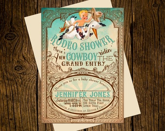 Cowboy Western Baby Shower Invitations Personalized Custom Printed Set of 12 Party Invites Vintage Ecru Rustic Turquoise Rodeo Stork