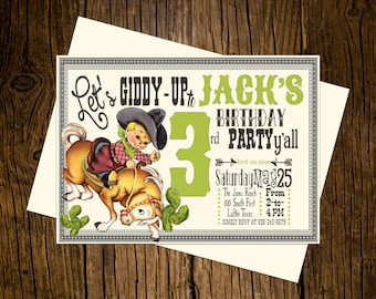 Cowboy Western Birthday Party Invitations Personalized Custom Printed Set of 12 Party Invites Vintage Ecru Rustic Green Palomino Pony Horse