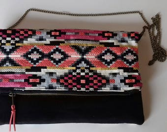 Black and ethnic zipper pouch bag