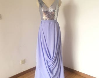 V-neck Silver Sequin Lavender Chiffon Long Bridesmaid Dress