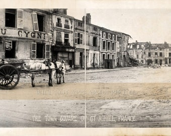 1918 St. Mihiel France Town Square World War I Vintage Panoramic Photograph 31""