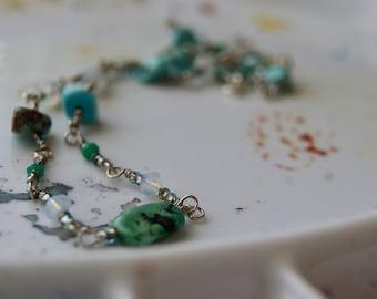 Turquoise Moonstone Choker- Beach Boho
