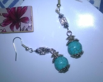 Handmade turquoise and silver colour earrings