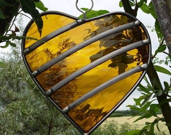 Made to order - 50th Golden Wedding Anniversary Stained Glass Heart - Garden Tree  or Trellis Ornament Decoration Suncatcher
