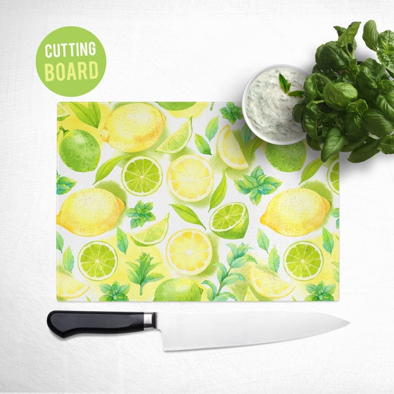 Tempered Glass Cutting Board - Lemon Limes Pattern