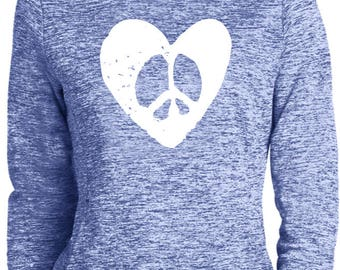 Ladies Hippie Heart Peace Moisture Wicking Hoodie HEARTPEACE-LST225