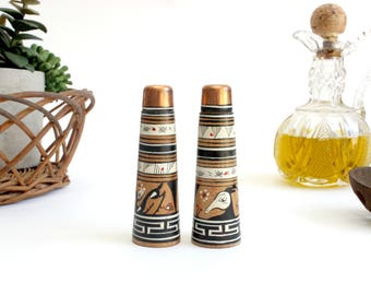Wood Salt and Pepper Shakers, Hand Painted Salt and Pepper Shakers