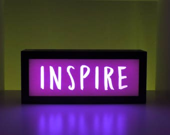 Inspirational Decor, Light Box, Inspirational Quote, Inspire, Inspirational Gift, Gift for Her, Unique Gift, Color Changing Sign