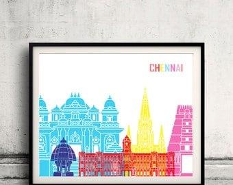 Chennai skyline pop - Fine Art Print Glicee Poster Gift Illustration Pop Art Colorful Landmarks - SKU 2409