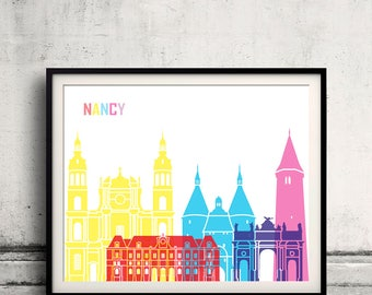 Nancy skyline pop - Fine Art Print Glicee Poster Gift Illustration Pop Art Colorful Landmarks - SKU 2515