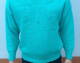 Turquoise Floral Knit Sweater