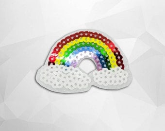 Rainbow and Cloud Sequin Iron on Patch(M) - Sequin Rainbow and Cloud ,Glitter Applique Iron on Patch - Size 6.2x4.3 cm