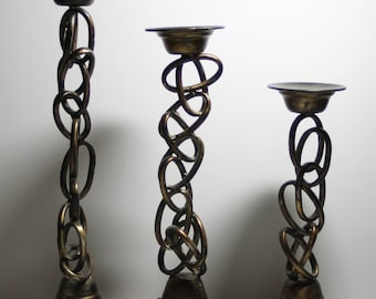 Three Modern Brushed Copper Tone Pillar Candle Holders- Abstract/Chain Link