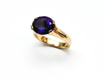 Amethyst natural stone ring, purple stone ring, Purple amethyst ring, solid 9k ring, 9ct amethyst ring, larg amethyst ring, solitaire ring