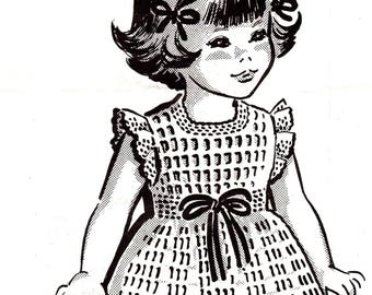 Little Girls Dress Vintage Crochet Pattern to Fit Sizes 4 6 8 PDF