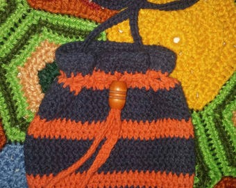 Crochet Purse Drawstring Crossbody Handbag Bag Cotton Tote in Navy and Orange Hand Crocheted