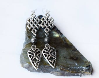 silver Aztec earrings