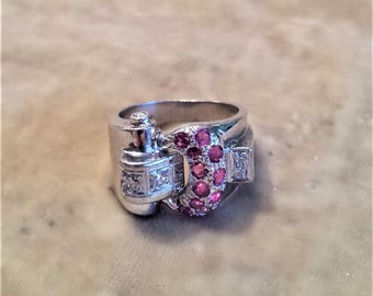 14K White Gold, Buckle Ring with Ruby and Diamond Stones