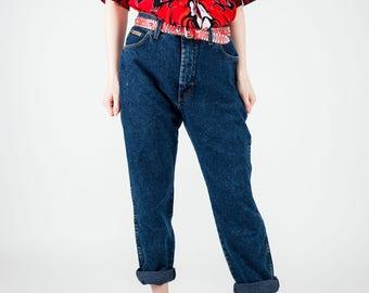 Vintage Wrangler denim / Vintage dark wash mom jeans /  Wrangler boyfriend jeans / Madonna trousers /Vintage 90s high waist jeans / Size M/L