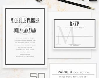 Bespoke Wedding Invitation Suite - 3 piece - Simple, Modern Digital Calligraphy - Basic invitation set with modern typography