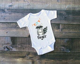 Raccoon w/Name & Bunting Flags - Woodland Animals Onesie or T-Shirt