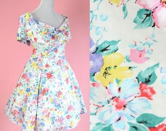 80s 90s Floral Prom Dress // Vintage 1980s, Off The Shoulder, 1990s Day Dress, Blossom, Cottage Chic, Women Size Medium, Large