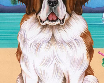 Saint Bernard Beach Towel 48058