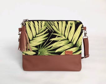 Cotton purse Tropical Handbags Messenger bag Crossbody purse Gift for her Faux Leather bag Best friend gift
