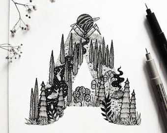 Letter ''A'' A4 Vertical size Print, printed on White 250g/m paper. Cabin, Scenery, Mountains, River, Birds. Designed by Menisart