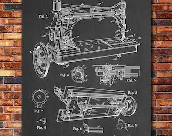 Sewing Machine Patent Print Art 1885